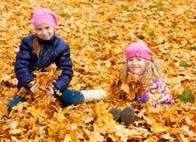 在秋天公园的孩子 图库摄影