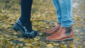 在秋天公园,女孩供以人员等待的女朋友是用脚尖踢为亲吻的技巧 股票录像