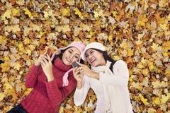 在秋天叶子的可爱的妇女 免版税库存图片