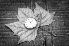 在秋天叶子的老手表。乡情的标志。 免版税库存照片