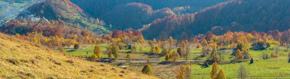 在秋天喀尔巴阡山脉,乌克兰的肮脏的次要路 免版税库存图片