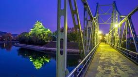 在秋天季节的冈山城堡在冈山市,日本 库存照片