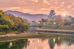 在秋天季节的冈山城堡在冈山市,日本 免版税库存图片