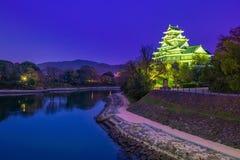 在秋天季节的冈山城堡在冈山市,日本 图库摄影