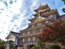 在秋天季节的冈山城堡在冈山,日本 免版税库存照片