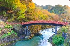 在秋天季节的日光红色Shinkyo桥梁 库存照片