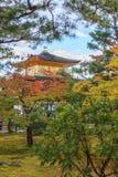 在秋天季节的美丽的金黄亭子Kinkakuji寺庙 免版税库存图片