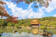 在秋天季节的金黄亭子Kinkakuji寺庙在京都 免版税库存图片