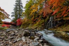 在秋天季节的Fudo小河在Nakano momiji山 免版税库存图片