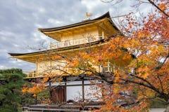在秋天季节的Kinkakuji寺庙,金黄亭子在京都, 库存照片