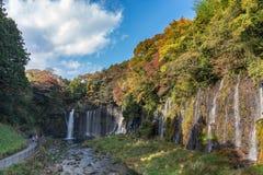 在秋天季节的Shiraito瀑布与绿色和红槭树和蓝天 免版税库存图片