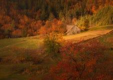 在秋天山的一个小木村庄 库存照片