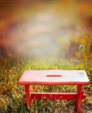 在秋天庭院草,自然背景的红色矮小的板凳 免版税库存图片