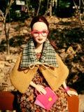 在秋天服装的一个可爱的葡萄酒芭比娃娃玩偶 库存照片