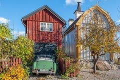 在秋天期间的田园诗Söderköping 免版税图库摄影