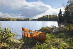 在秋天期间,乘独木舟在一个北Minnesota湖的岸 免版税库存照片