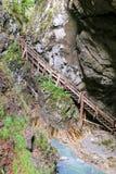 在秋天期间的Wolfsklamm峡谷在施坦斯,奥地利 免版税库存照片