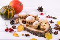 在秋天样式的自创烘烤 在一个木板用肉桂条,茴香的可口杯形蛋糕担任主角,南瓜 库存照片
