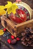 在秋天样式的闹钟 库存图片