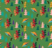 在秋天森林传染媒介无缝的样式的UFO 库存图片