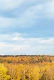 在秋天森林和都市房子的蓝色云彩 免版税库存图片