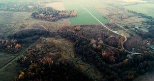 在秋天森林天线的美好的日落 股票录像