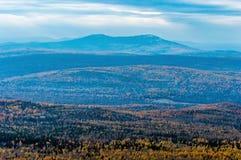 在秋天森林的山 免版税库存图片