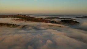 在秋天森林的有薄雾的云彩,空中 股票录像