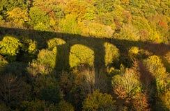 在秋天森林颜色的桥梁影子 图库摄影