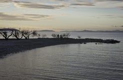 在秋天海滩的Evning 免版税库存照片