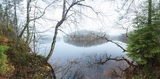 在秋天湖的雾 免版税库存照片