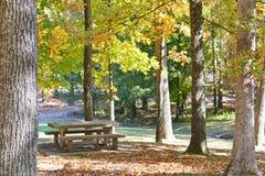 在秋天的具体野餐桌 免版税图库摄影