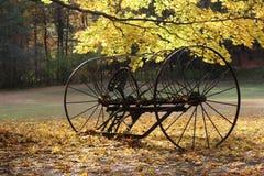 在秋天的古色古香的搂草机 库存照片