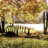 在秋天的木桥 免版税库存照片