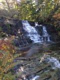 在秋天的瀑布 免版税库存照片