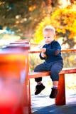 在秋天的男婴画象 免版税图库摄影