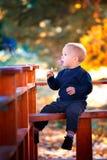 在秋天的男婴画象 免版税库存照片