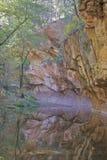 在秋天的西方叉子橡木小河 免版税库存照片