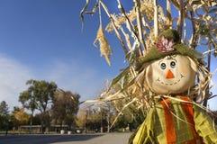 在秋天的逗人喜爱的稻草人 库存照片