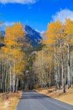 在秋天的风景山路 图库摄影