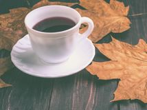 在秋天秋天的咖啡杯在木背景离开 库存照片