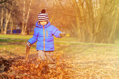 在秋天秋天的愉快的小男孩乐趣离开 图库摄影