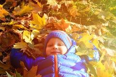 在秋天秋天的愉快的小男孩乐趣 免版税库存照片
