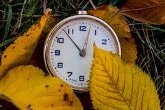 在秋天背景的葡萄酒时钟 库存照片
