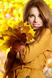 在秋天颜色的妇女纵向 库存照片