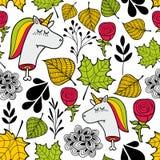 在秋天颜色的无缝的哀伤的样式 图库摄影