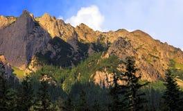 在秋天颜色,扎科帕内,波兰的Tatra山 免版税库存图片