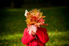 在秋天黄色后花束的一个小女孩离开 孩子使用与黄色秋天槭树叶子 红色的女孩 库存图片