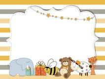 在种族分界线、模板婴儿送礼会的或birthd的俏丽的框架 库存例证