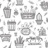 在种族华丽b的花盆和房子植物无缝的样式 免版税库存图片